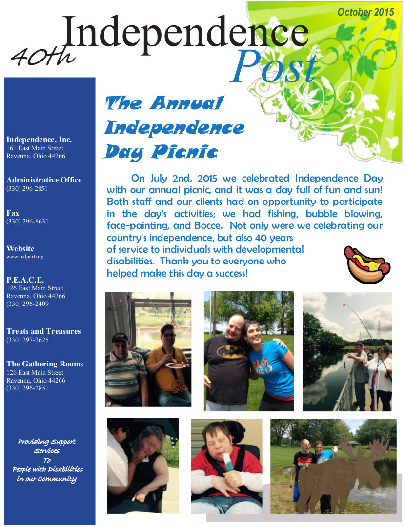 Cover page of the October 2015 newsletter.